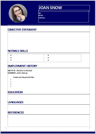 CV template for download