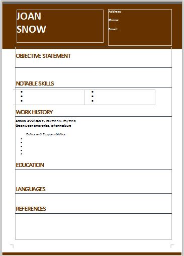CV template to download free